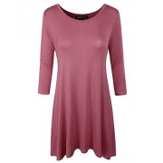ELF FASHION Womens 3/4 Sleeve Loose Fit Swing Tunic Tops Basic T Shirt - Tunic - $12.99