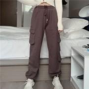 Elastic waist loose-fitting overalls pockets casual pants sports pants - 牛仔裤 - $28.99  ~ ¥194.24