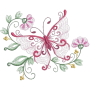 Embroidered Butterfly Floral Cluster - イラスト -