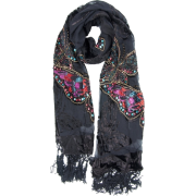 Exotic Chiffon / Velvet Butterfly Print Sequins Beaded Long Shawl Wrap Scarf - 6 color options Black - Шарфы - $34.00  ~ 29.20€