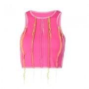 Exposed traces slim-fit umbilical vest - Shirts - $19.99