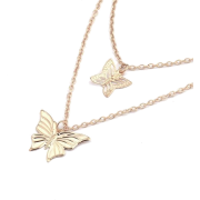 Exquisite Double Gold And Silver Butterfly Necklace Nhnz155498 - 项链 -