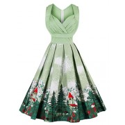 FAIRY COUPLE 50s Vintage Retro Double V-Neck Party Dress Cocktail DRT043(3XL,Green) - Dresses - $59.99
