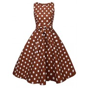 FAIRY COUPLE 50s Vintage Retro Floral Cocktail Swing Party Dress with Bow DRT017(3XL, Brown White Dots) - Dresses - $59.99