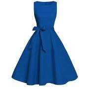 FAIRY COUPLE 50s Vintage Retro Floral Cocktail Swing Party Dress with Bow DRT017(3XL, Royal Blue) - Dresses - $59.99