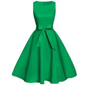 FAIRY COUPLE 50s Vintage Retro Floral Cocktail Swing Party Dress with Bow DRT017(4XL, Light Green) - Dresses - $59.99