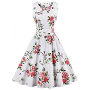 FAIRY COUPLE 50s Vintage Retro Floral Cocktail Swing Party Dress with Bow DRT017(4XL, White Floral) - Dresses - $59.99