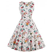 FAIRY COUPLE 50s Vintage Retro Floral Cocktail Swing Party Dress with Bow DRT017(L, Ivory White Floral) - Dresses - $59.99