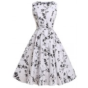 FAIRY COUPLE 50s Vintage Retro Floral Cocktail Swing Party Dress with Bow DRT017(XL, White-Black Floral) - Dresses - $59.99