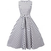 FAIRY COUPLE 50s Vintage Retro Floral Cocktail Swing Party Dress with Bow DRT017(XL, White Small Black Dots) - Dresses - $59.99