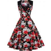 FAIRY COUPLE 50s Women Vintage Floral Button Swing Casual Dress DRT025 - Dresses - $59.99