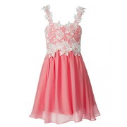 FAIRY COUPLE Girls A-Line Floral Lace Sweetheart Chiffon Party Dress K0246 - Dresses - $69.99