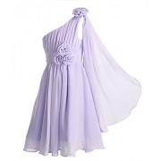 FAIRY COUPLE Girl's A-Line One Shoulder Rosette Short Flower Girl Dress K0110 - Dresses - $59.99