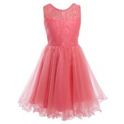 FAIRY COUPLE Girl's Floral Lace V Back Ruffled Party Dress K0191 - Dresses - $59.99