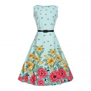 FAIRY COUPLE Girl's Sleeveless Vintage Floral Swing Party Dresses with Belt KHR003 - Dresses - $39.99