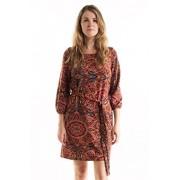 FASHIONOMICS Womens Boho Printed 3/4 Sleeves Dress with Waist Tie - Dresses - $17.99