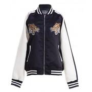 FASHIONOMICS Womens Tiger Up Embroidery Satin Bomber Jacket - Jacket - coats - $39.99