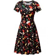 FENSACE Green Dress Womens Santa Claus Printed Gifts Xmas Dress - Dresses - $17.88