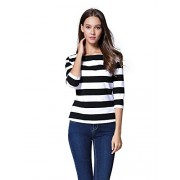 FENSACE Womens 3/4 Sleeve Round Neck Casual Stripes T-Shirt - T-shirts - $16.88