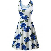 FENSACE Women's A Line Sleeveless Floral Summer Dress - Dresses - $12.99