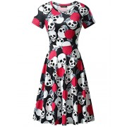 FENSACE Womens Short Sleeves Casual A-Line Halloween Pumpkin Dress,XX-Large, 17038-9 - Dresses - $17.88