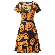 FENSACE Womens Short Sleeves Casual A-Line Halloween Pumpkin Dress - Dresses - $17.88