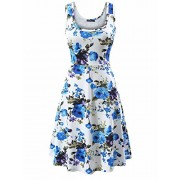 FENSACE Women's Sleeveless Scoop Neck Summer Beach Midi Flared Tank Dress (Large, 17020-9) - Dresses - $18.99
