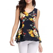 FENSACE Womens Summer Sleeveless V-Neck Loose Floral Tank Tops - Shirts - $12.99
