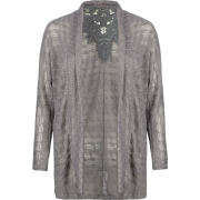 FULL TILT Crochet Panel Womens Sweater Charcoal - Cardigan - $14.97