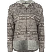 FULL TILT Fair Isle Womens Hoodie Grey - Long sleeves t-shirts - $14.97