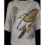 FULL TILT Feather Print Womens Top Grey - Top - $17.97