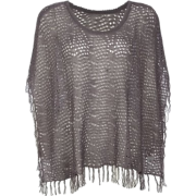 FULL TILT Open Knit Womens Poncho Charcoal - Top - $15.97