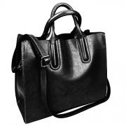 Fantastic Zone Oil Wax Leather Women Top Handle Satchel Handbags Shoulder Bag Purse Messenger Tote Bag - Bag - $24.98