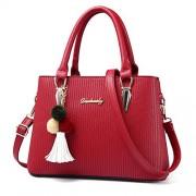 Fashion Lady Work Place Double Zipper Embossed Strip Leather Handbag Satchel Shoulder Bag With Tassel - Bag - $21.99