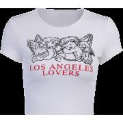 Fashion Angel Print Short Sleeve T-Shirt Sexy Navel Top - Shirts - $19.99