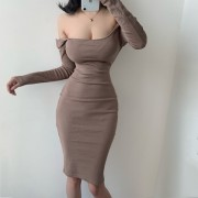 Fashion Square Collar Backless Slim Fit Hip Elastic Long Sleeve Dress - Dresses - $25.99