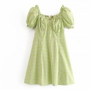 Fashion fruit green plaid bubble sleeve - Dresses - $27.99