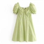 Fashion fruit green plaid bubble sleeve - Haljine - $27.99  ~ 177,81kn
