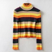 Fashion half-necked color striped sweate - Pullover - $27.99  ~ 24.04€