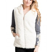 Fashionomics 19K-SOFW823 Off White Fur Zip Front Hooded Vest - Jacket - coats - $38.99