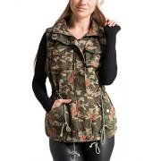 Fashionomics 5BJ-90088 Olive Floral Camo Utility Vest - Jacket - coats - $63.99