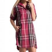 Fashionomics Women Plaid V Neck Roll Up Sleeve Long Blouse High Low Mini Shirt Dress - Dresses - $14.00
