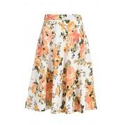 Fashionomics Womens Print Flare Pleated Midi Elastic Waist A-line Skirt (L, IVORY1) - Skirts - $17.99