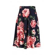 Fashionomics Womens Print Flare Pleated Midi Elastic Waist A-line Skirt (L, NAVY2) - Skirts - $17.99
