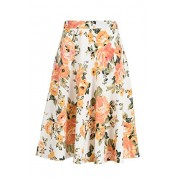 Fashionomics Womens Print Flare Pleated Midi Elastic Waist A-line Skirt (M, IVORY1) - Skirts - $17.99