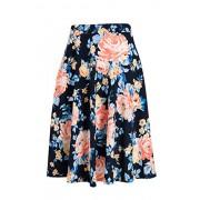 Fashionomics Womens Print Flare Pleated Midi Elastic Waist A-line Skirt (M, NAVY1) - Skirts - $17.99