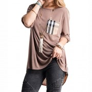 Fashionomics Womens Roll Up Sleeve Boat Neck Loose Fit Shirts Pullover Top - Pullovers - $19.90