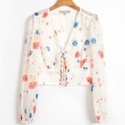 Fashion printed V-neck lace shirt - Majice - kratke - $27.99  ~ 24.04€
