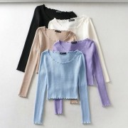 Fashion round neck wooden ears sexy short navel long-sleeved sweater - Shirts - $25.99