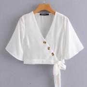 Fashion wild V-neck long-sleeved button- - Shirts - $25.99